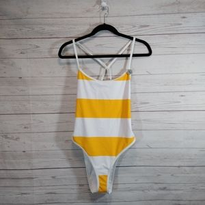 🎉 forever 21 wide striped one piece swimsuit